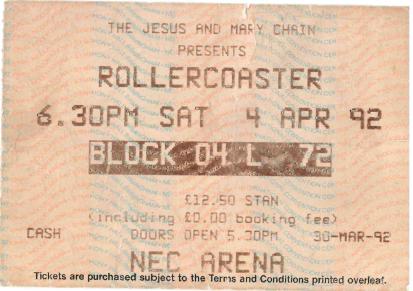 Rollercoaster Tour NEC Birmingham ticket 04/04/1992