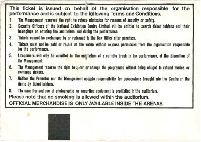 Rollercoaster NEC 1992 ticket reverse